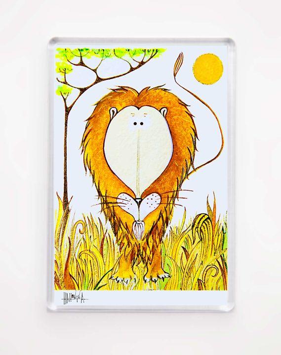 MAGNET - Funny Lion in Savana - HahoninArt