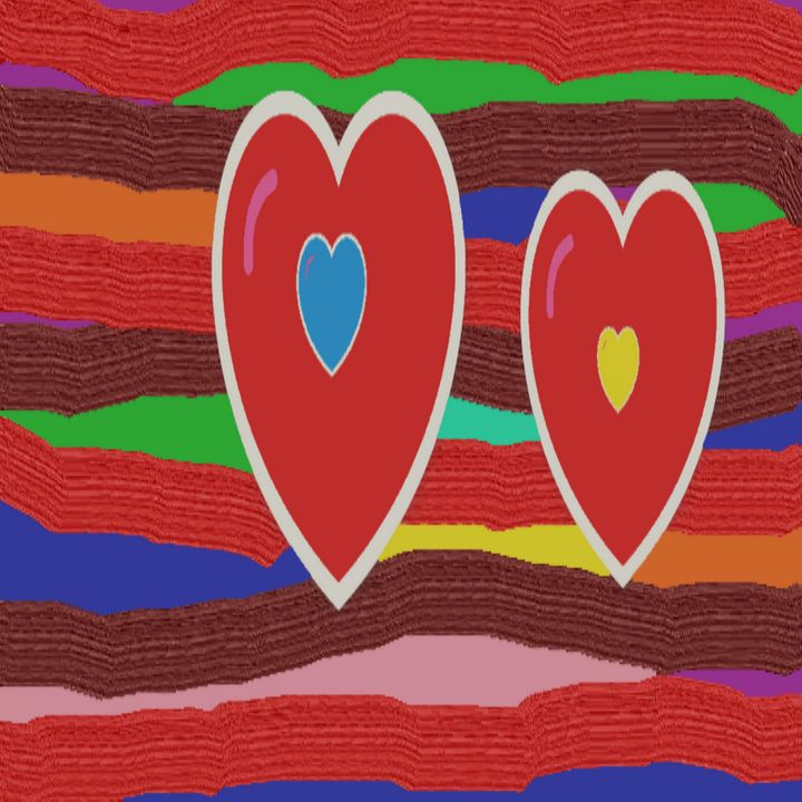 Big Hearts on striped design - Archie