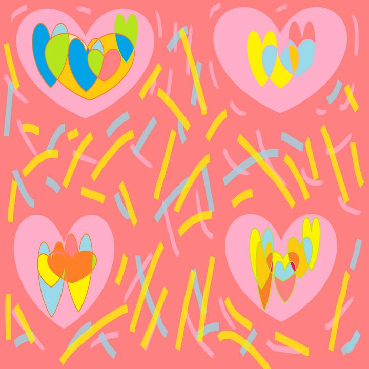 Pink yellow blue hearts design - Archie