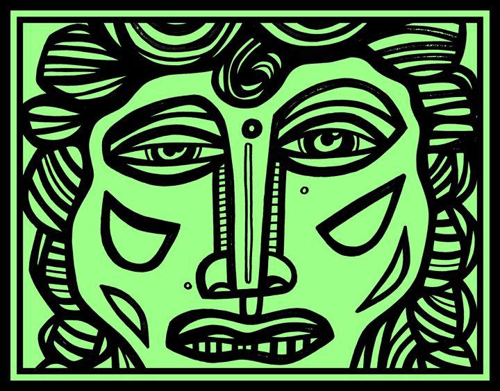 Green Black Man Face - Eddie Alfaro Art