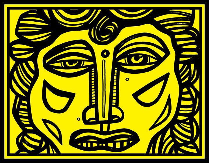 Black Yellow Renaissance Style - Eddie Alfaro Art