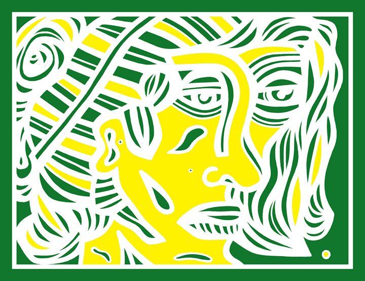 Green Yellow White Woman Face - Eddie Alfaro Art