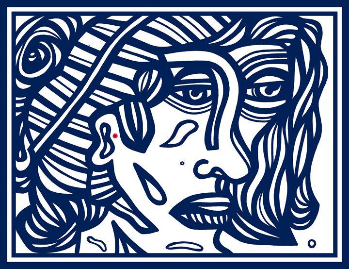 Blue White Woman Face - Eddie Alfaro Art