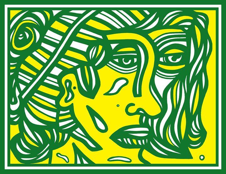 Green Yellow Woman Face - Eddie Alfaro Art