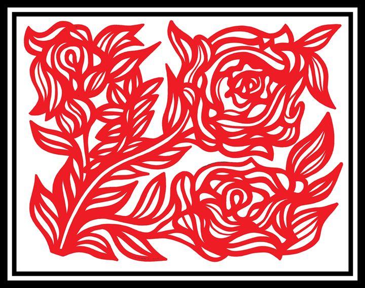Red White Black Rose Flower - Eddie Alfaro Art