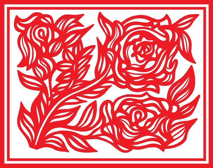 Red White Rose Flower - Eddie Alfaro Art