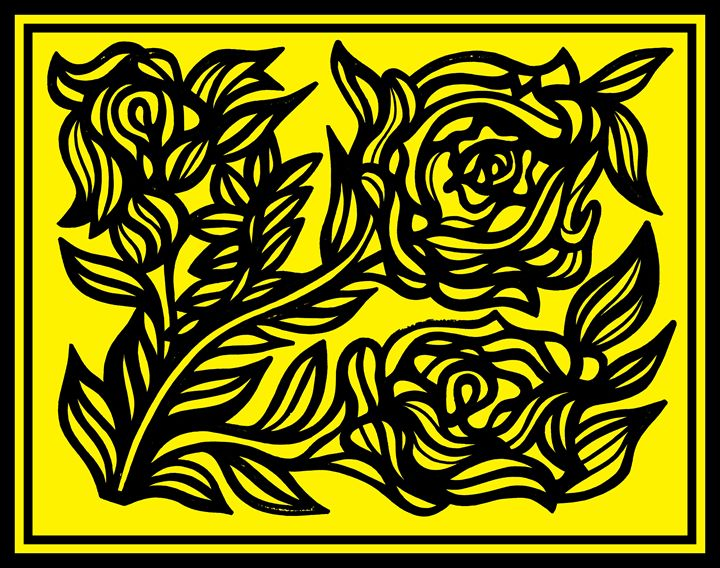 Black Yellow Rose Flower - Eddie Alfaro Art