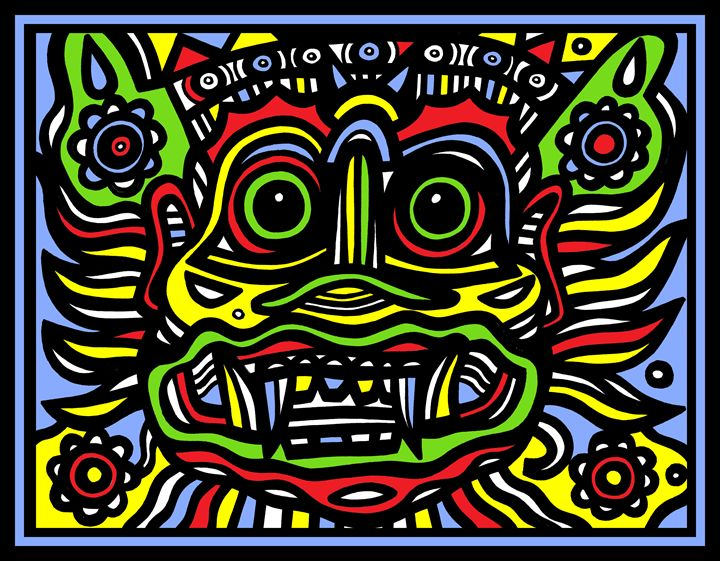 Colorful Tribal Mask - Eddie Alfaro Art