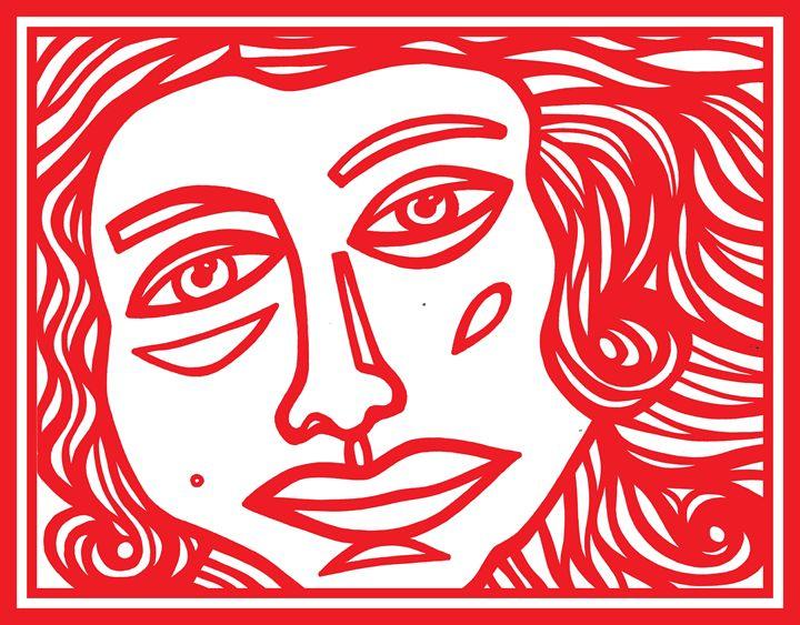 Red White Goddess - Eddie Alfaro Art