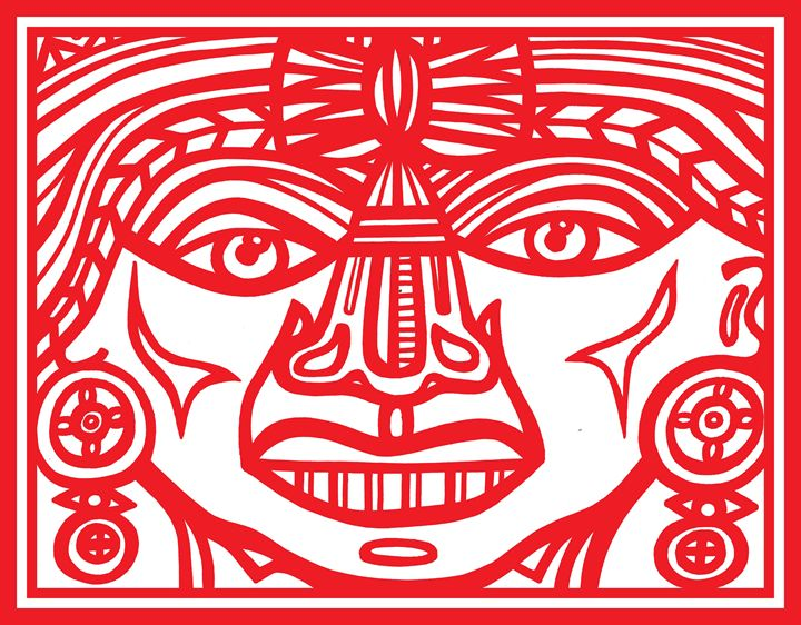 Red White Mayan Warrior - Eddie Alfaro Art