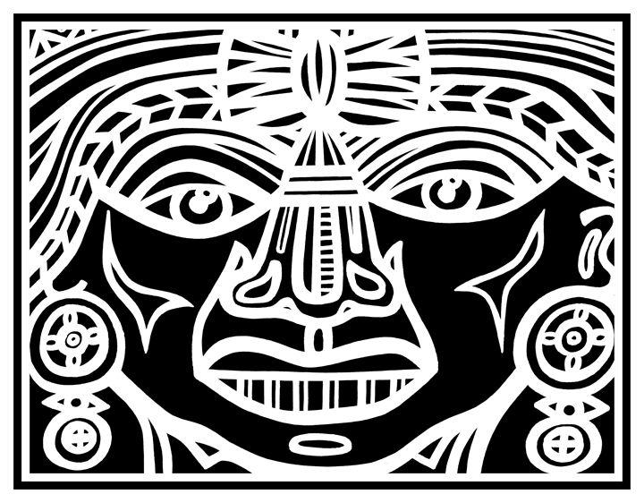 Black White Mayan Warrior - Eddie Alfaro Art