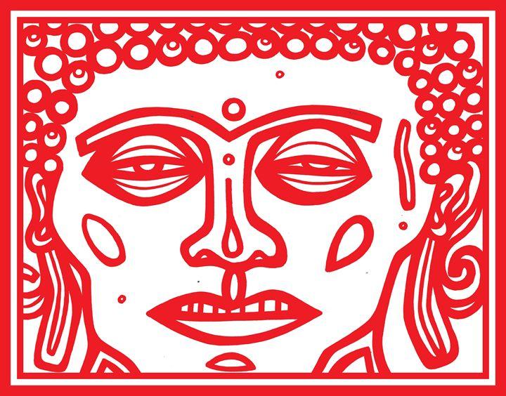 Red White Buddha Face - Eddie Alfaro Art