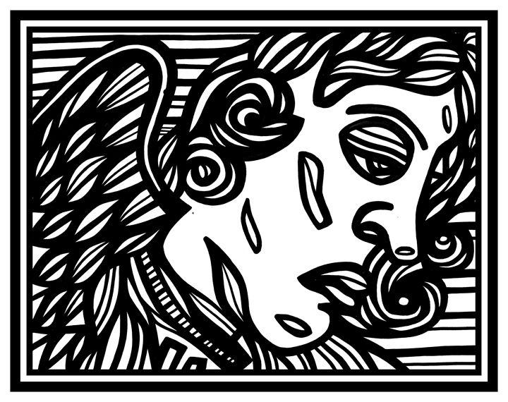Black White Cherub Angel - Eddie Alfaro Art