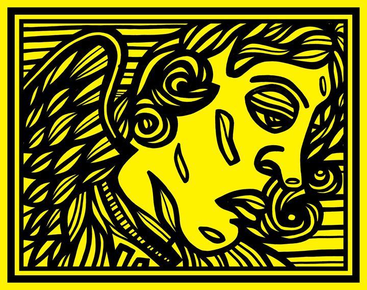 Black Yellow Angels Cherubs - Eddie Alfaro Art