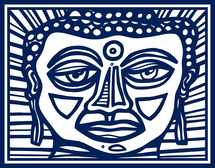 Blue White Buddha Face - Eddie Alfaro Art