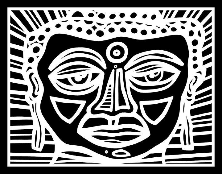 Black White Buddha Face - Eddie Alfaro Art