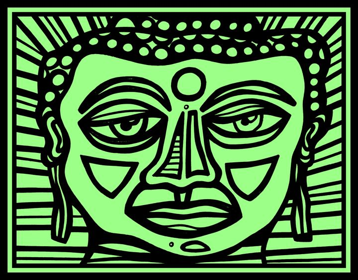Black, Green, Buddha Face - Eddie Alfaro Art