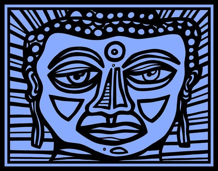 Blue Black Buddha Face - Eddie Alfaro Art
