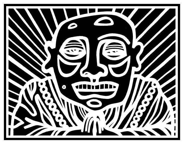 Black, White, Buddha - Eddie Alfaro Art