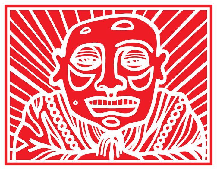 Red, White, Buddha - Eddie Alfaro Art