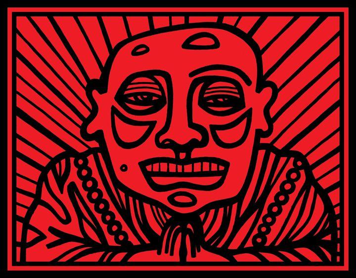 Red, Black, Buddha - Eddie Alfaro Art