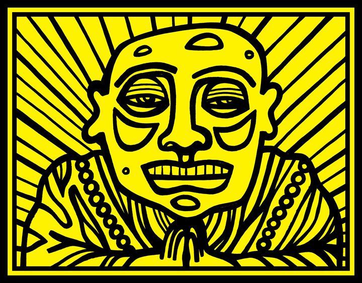 Black, Yellow, Buddha - Eddie Alfaro Art