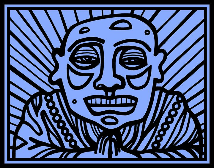 Blue, Black, Buddha - Eddie Alfaro Art