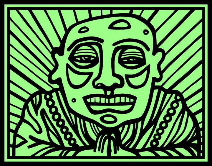 Black, Green Buddha - Eddie Alfaro Art