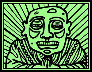 Black, Green Buddha