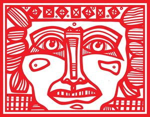 Red, White, Mayan Warrior