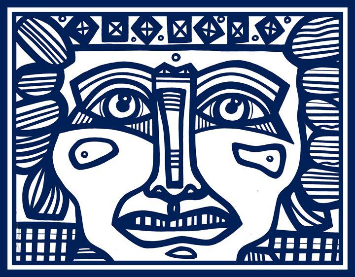Blue, White, Mayan Warrior - Eddie Alfaro Art