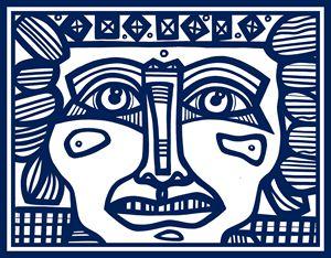Blue, White, Mayan Warrior