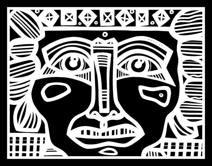 Black and White, Mayan Warrior - Eddie Alfaro Art