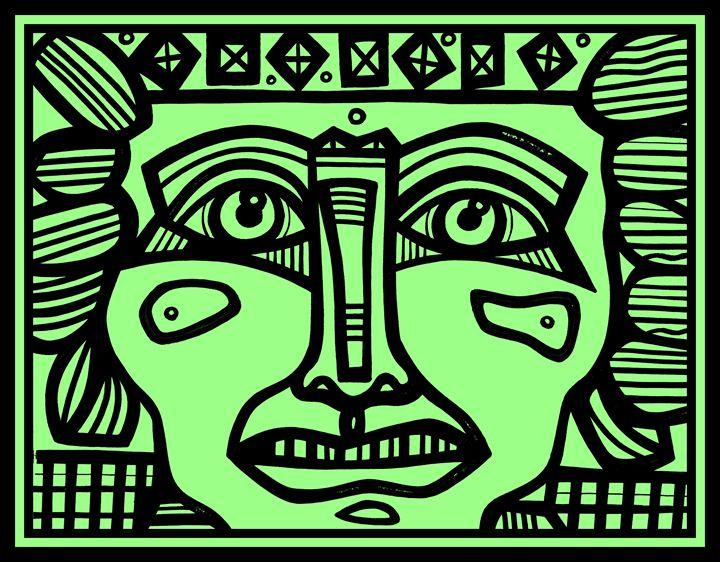 Black, Green, Mayan Warrior - Eddie Alfaro Art