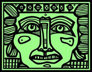Black, Green, Mayan Warrior