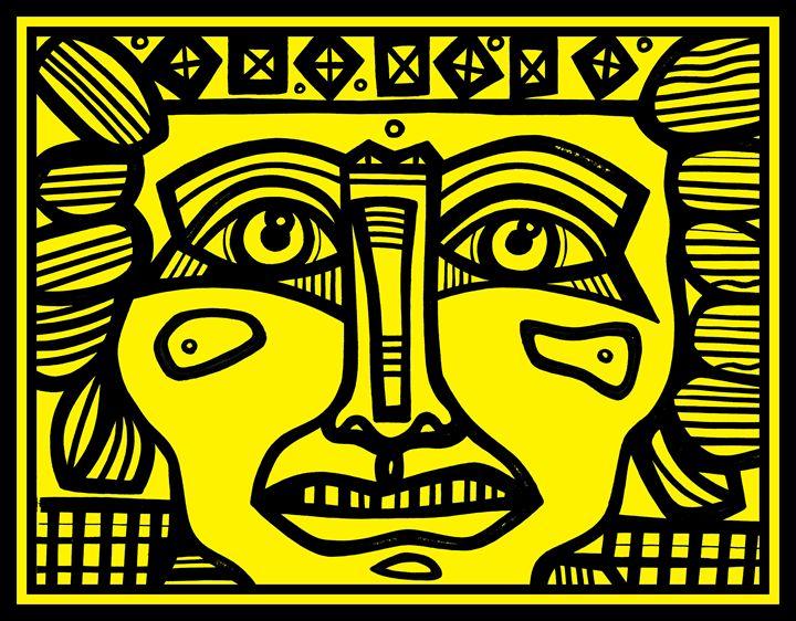 Yellow, Black, Mayan Warrior - Eddie Alfaro Art