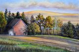 Pastel of a landscape with barn.