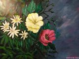Painting acrylic flowers and Daisy.