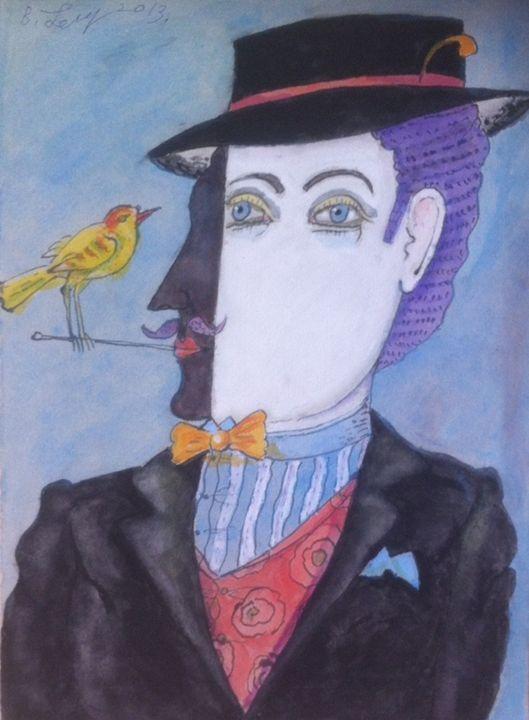 art painting Man Birds drawing figur - BENBENART