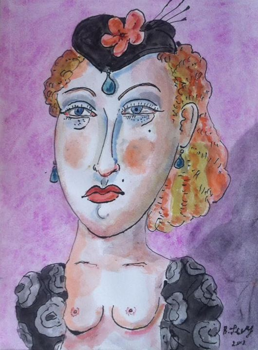 Painting Woman Nude Canvas Art Portr - BENBENART