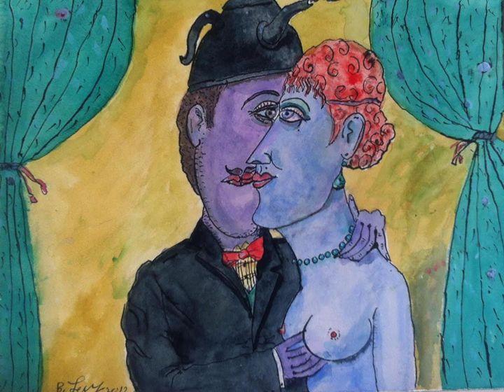 Couple Love Painting Original Art Oi - BENBENART