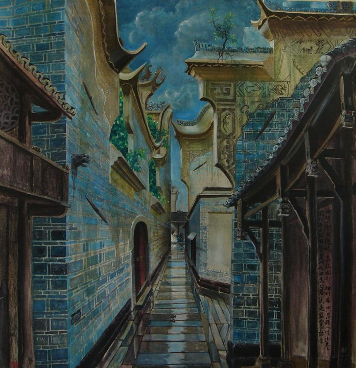 A Raining Lane in South China - Billowing Inkstone Gallery
