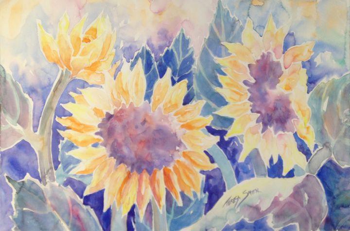 sunflowers in watercolor wash - ArtByTeresa