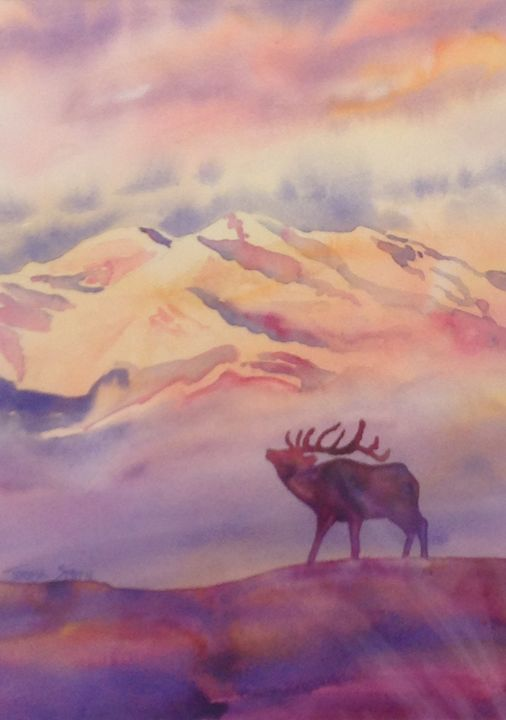 elk in mountains - ArtByTeresa