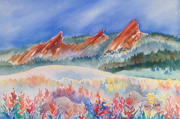 floral valley in front of flatirons - ArtByTeresa