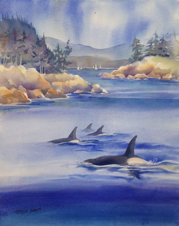 orca whales in puget sound - ArtByTeresa