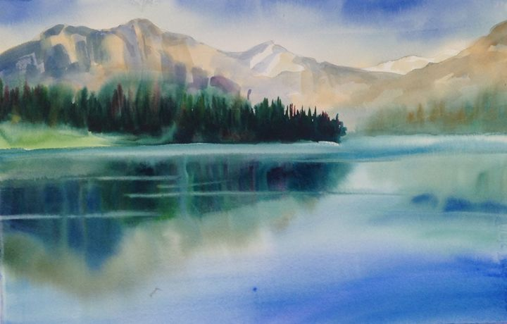 Still Lake in Canadian Rockies - ArtByTeresa
