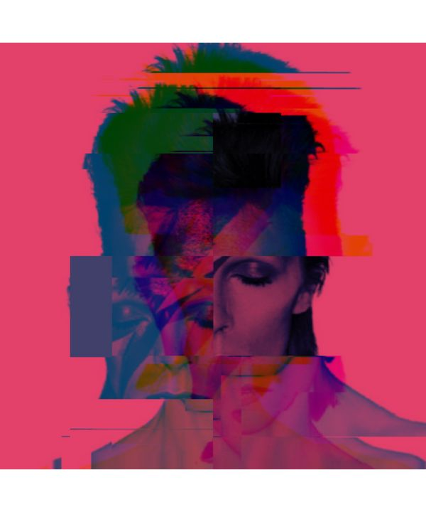 David Bowie Pixelated Abstract Art - red-amber65