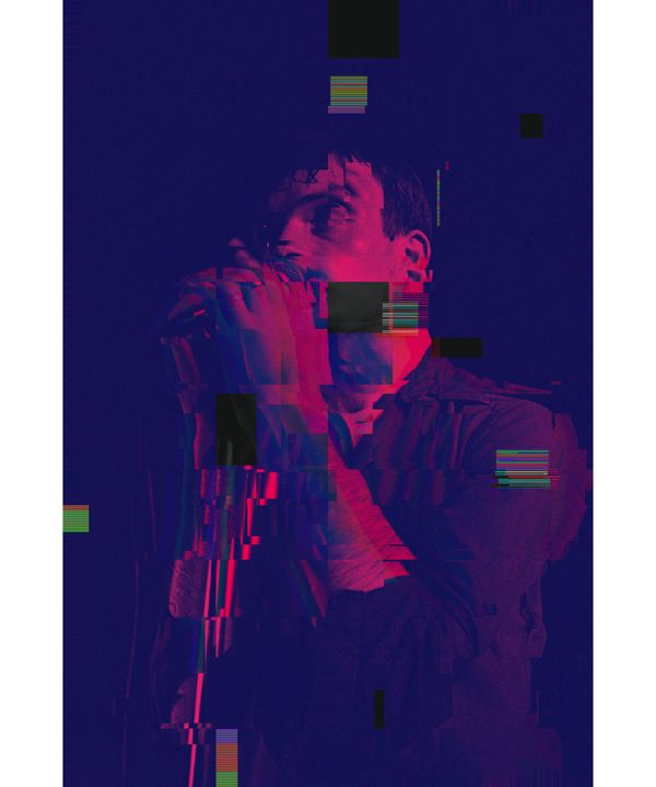 Ian Curtis Pixelated Abstract Art - red-amber65