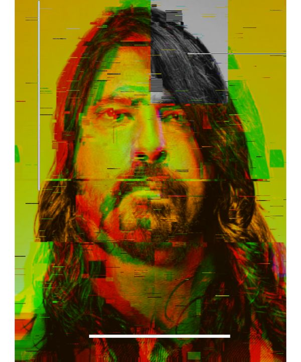 Dave Grohl Pixelated Abstract Art - red-amber65